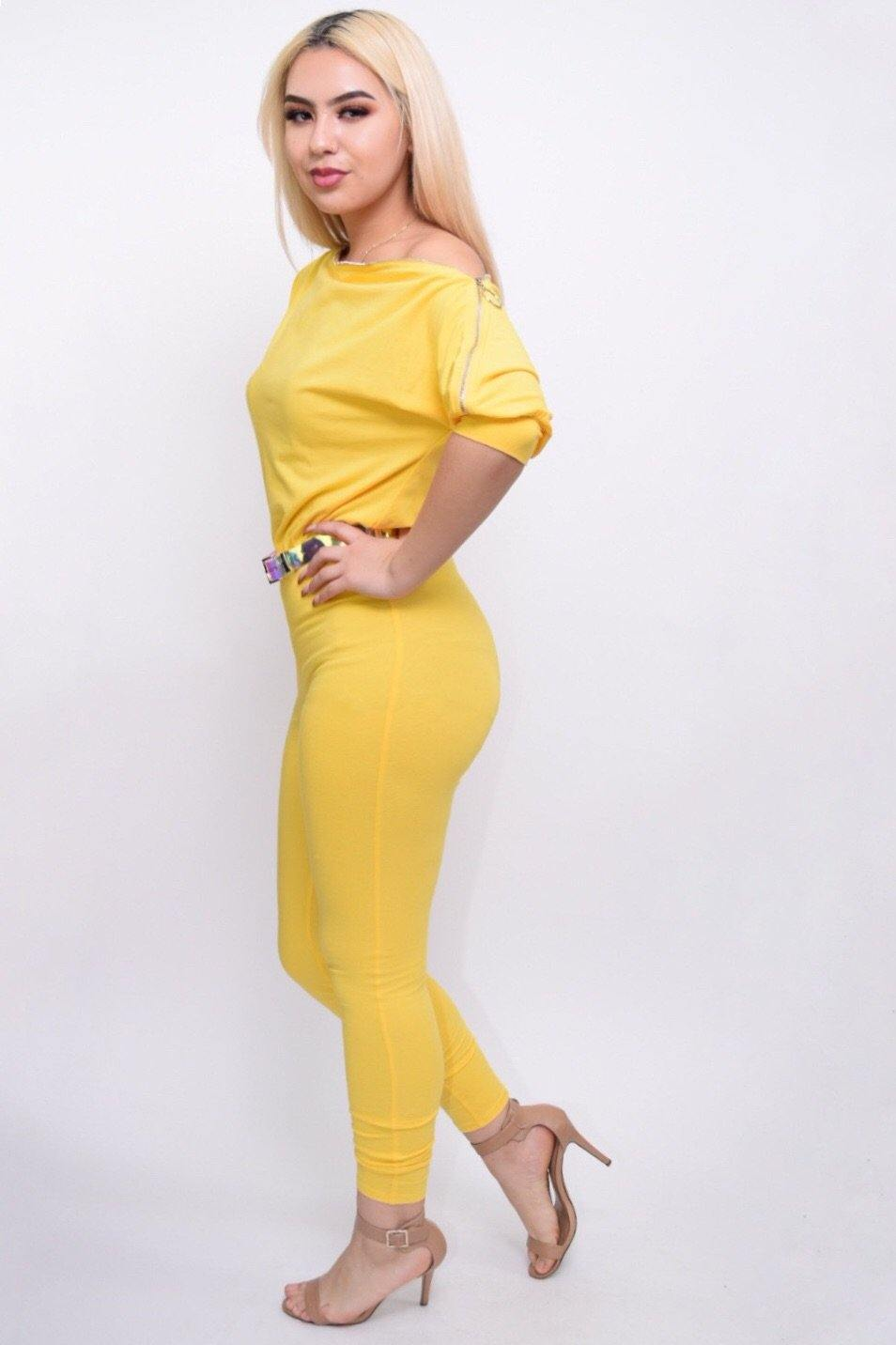 Nicole Yellow Jumpsuit With Zipper Shoulder