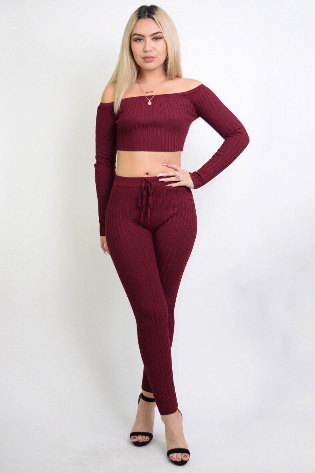 Maya Sexy Burgundy 2 Piece Knitted Set