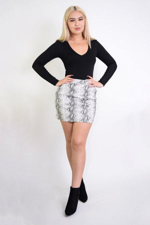Barbara Snake Print PU Mini Skirt