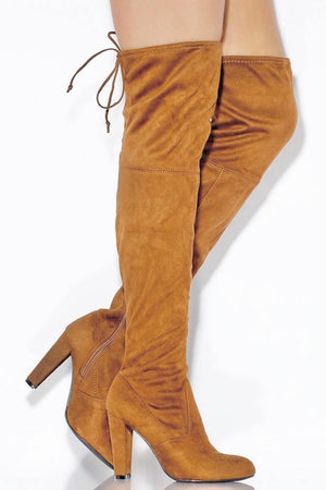 Amaya, Camel Thigh High Boots - Dimesi Boutique