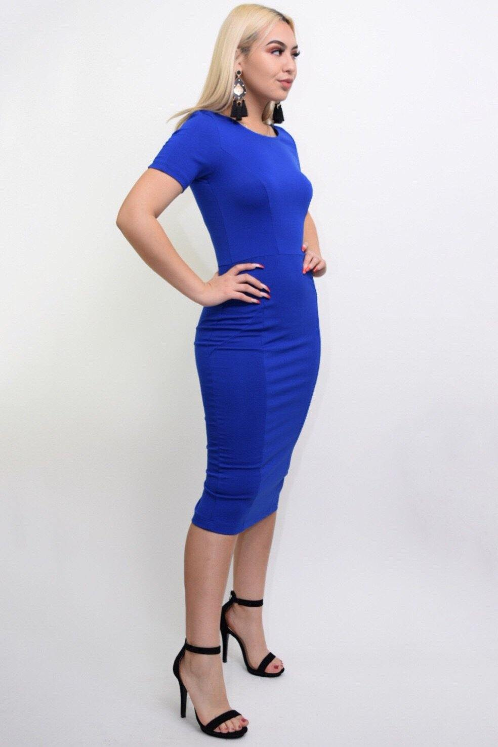 Jarrel blue bodycon middy dress