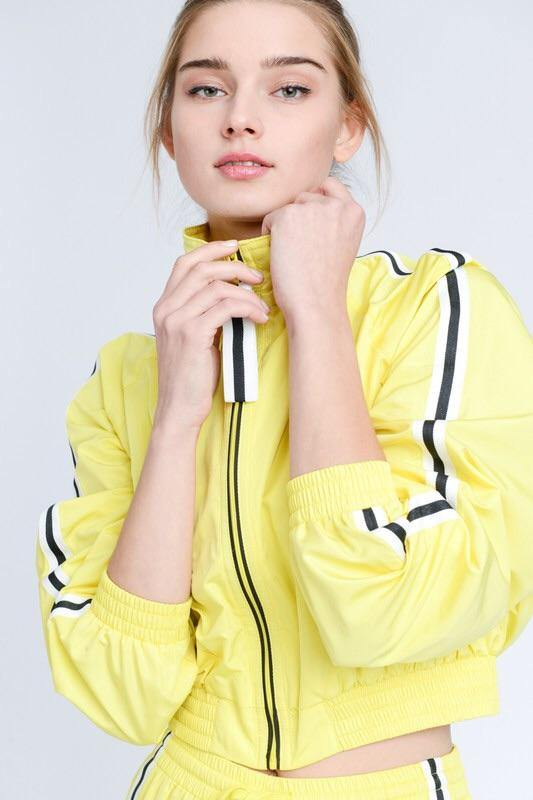 Alicia Cropped Single Stripe, Windbreaker Yellow Jacket