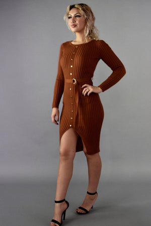 Venus, Cog sweater dress with belt attached - Dimesi Boutique