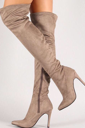 Thigh high taupe boots - Dimesi Boutique