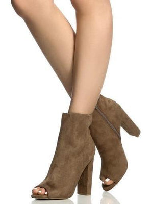 Morris, Taupe chunky heel Booties - Dimesi Boutique