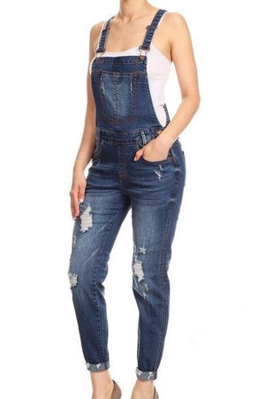 Natasha, Destroyed Dark Wash Overalls - Dimesi Boutique