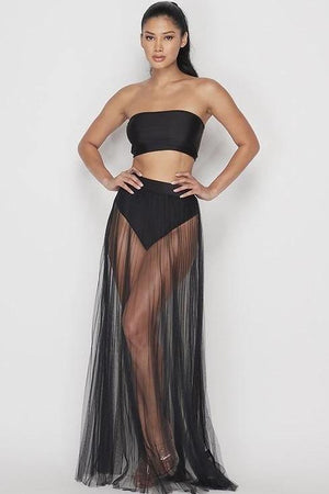 Kendra, Mesh pleated maxi skirt - Dimesi Boutique