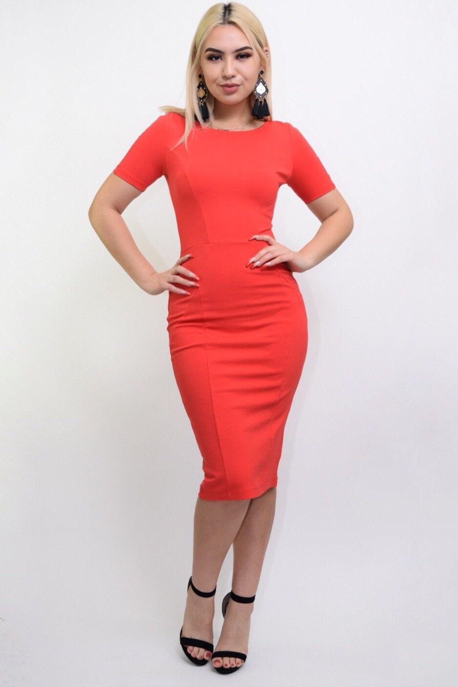 Jarrel orange bodycon middy dress