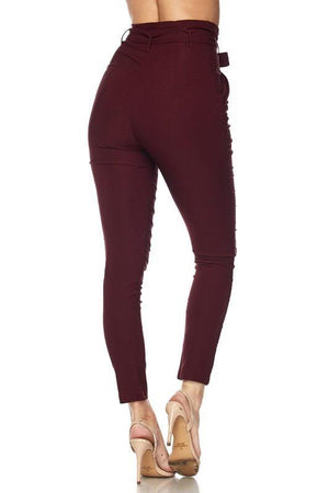 Penny, High Rise Burgundy Pants
