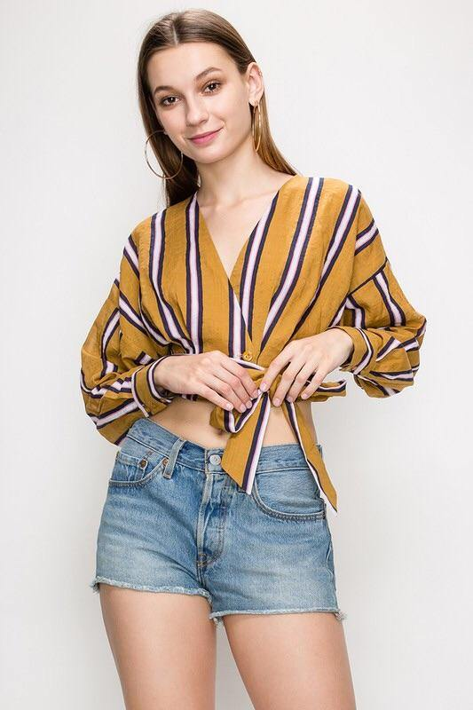 Berenice Stripped Mustard Blouse
