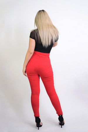 Penny, High Rise Red Pants