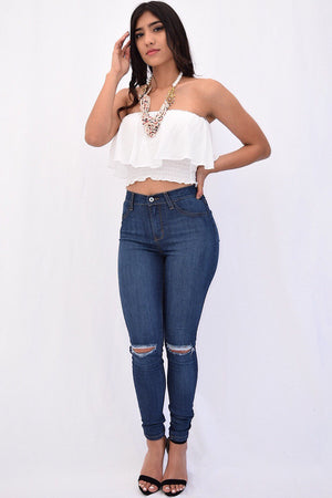 Trina, High rise, knee slit, blue Jeans - Dimesi Boutique