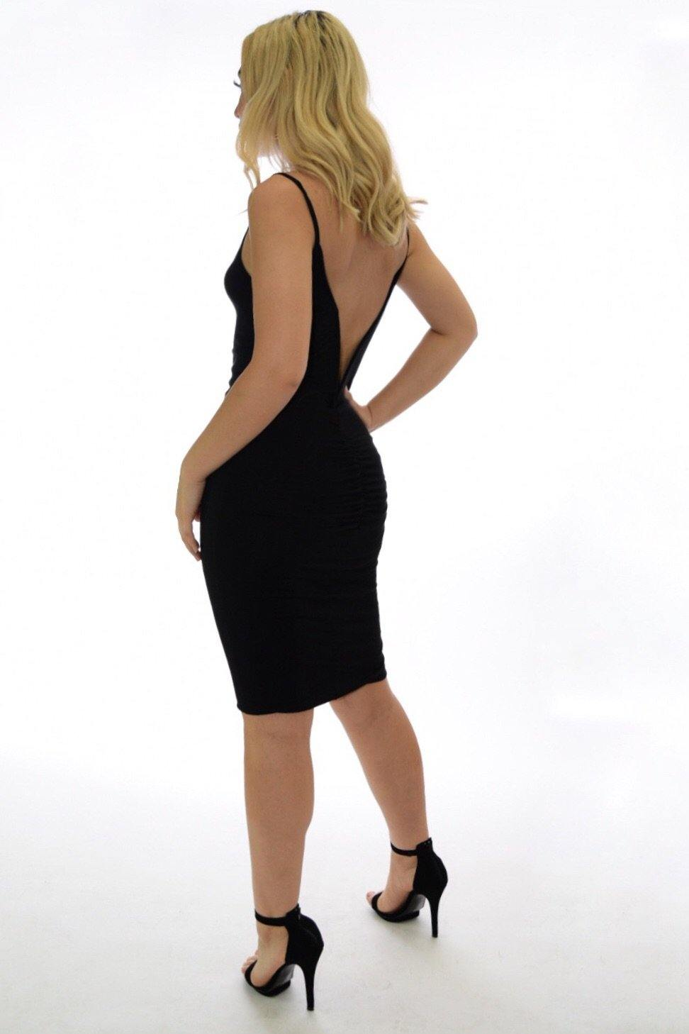 Vanessa black dress with deep V-cut on back