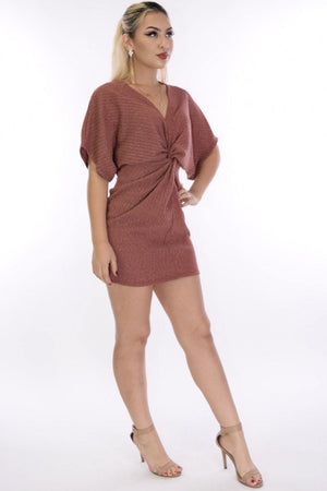 Jazz, Rust shiny mini dress with knotted waist - Dimesi Boutique