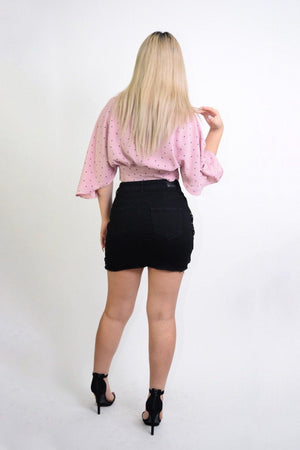 Celia, Flared sleeves Pink Cropped Blouse