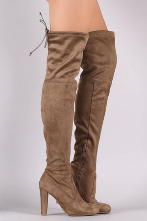 Amaya, Taupe Thigh High Boots - Dimesi Boutique