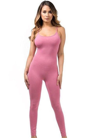 Dusty rose spaghetti strap jumpsuit - Dimesi Boutique