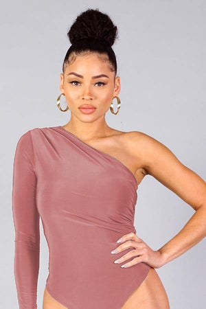 Dana, One shoulder mauve bodysuit - Dimesi Boutique