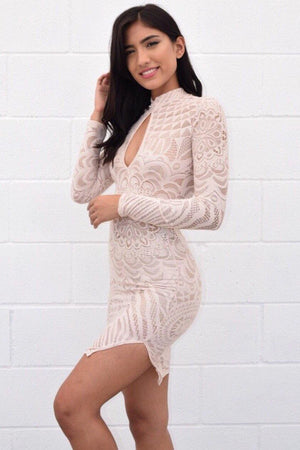 Abriana nude lace dress, that you can see through