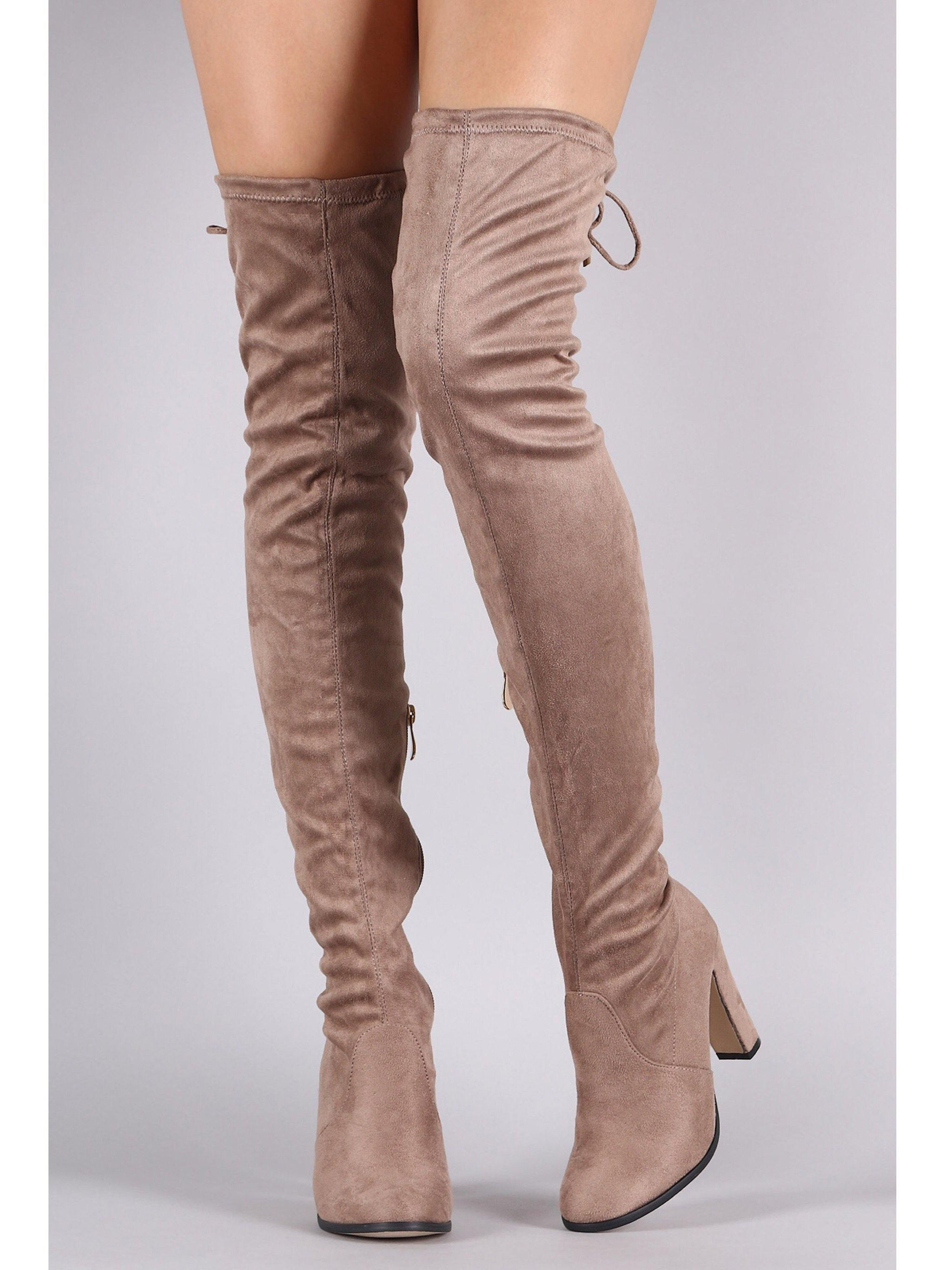 Mona thigh high khaki boots with a chunky heel