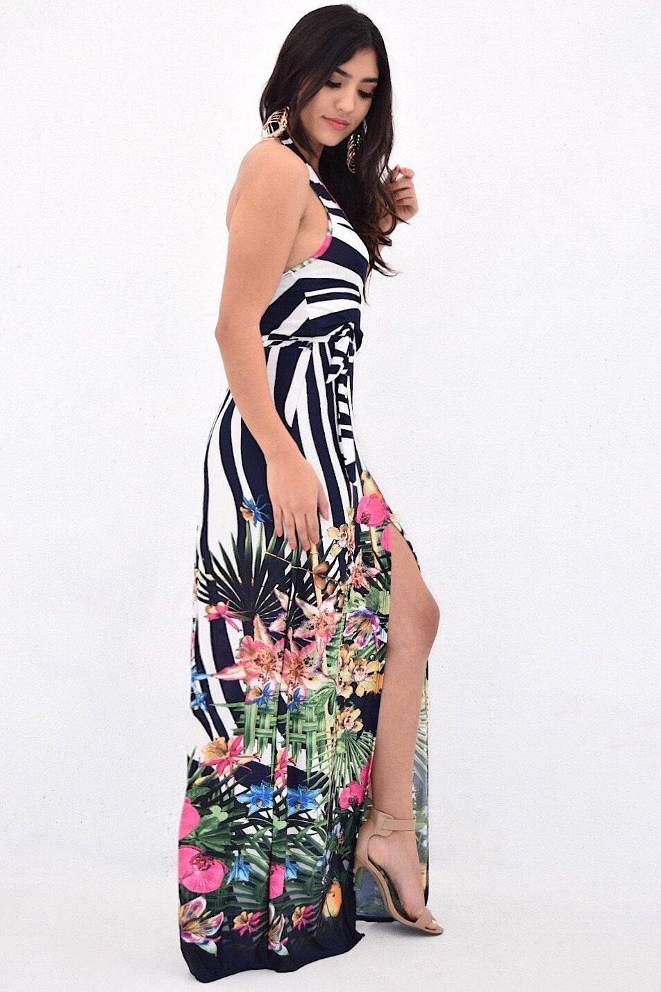 Malibu tropical maxi wrap dress