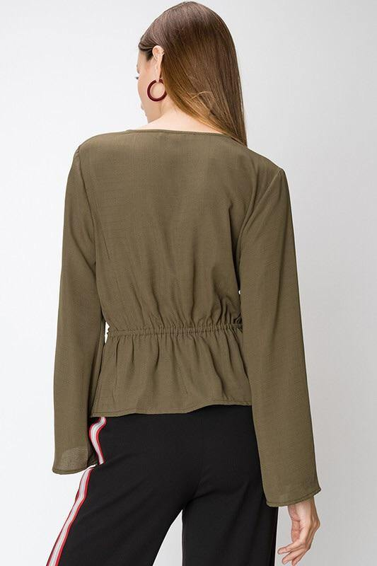 Ivana Cross Front Olive Blouse