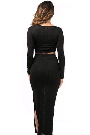 Kim black knitted set with cross front top' and slit on long skirt