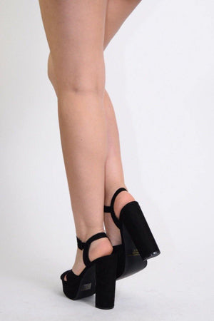 Fanny Ankle Strap Open Toe Black Chunky Heels - Dimesi Boutique