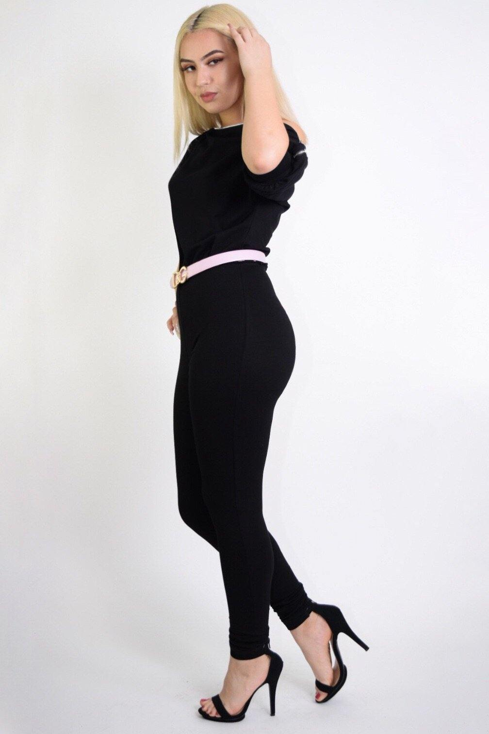 Nicole Black Jumpsuit With Zipper Shoulder