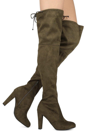 Amaya, Olive Thigh High Boots - Dimesi Boutique
