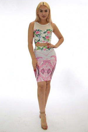Samantha, two piece white Floral Set - Dimesi Boutique