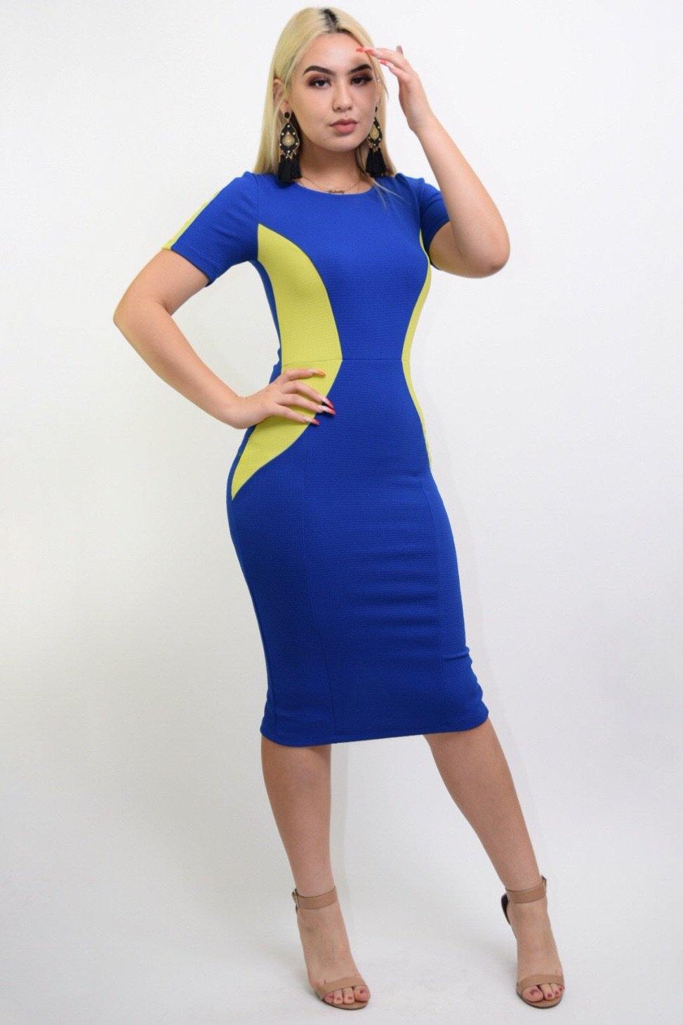 Sasha Blue-green bodycon middy dress