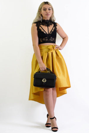 Emily Flared Mustard Skirt - Dimesi Boutique
