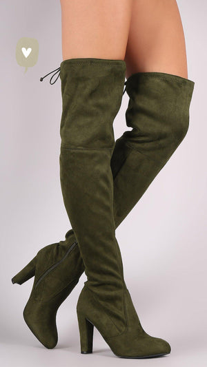 Thigh High Suede Olive Boots - Dimesi Boutique