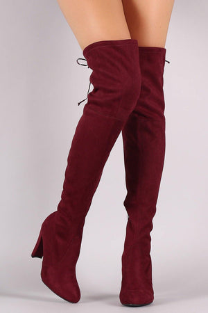 Amaya, Burgundy Thigh High Boots - Dimesi Boutique