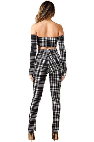 Off the shoulder long sleeve black and white plaid Set - Dimesi Boutique
