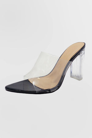 Camryn, Clear chunky pointy heels - Dimesi Boutique