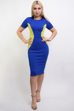 Sasha Blue-green bodycon midi dress - Dimesi Boutique