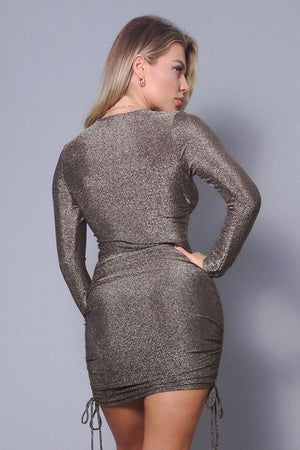 Long sleeve round neck glitter side ruching dress - Dimesi Boutique