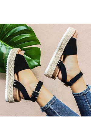 Sensational wide band espadrille platform black Sandals