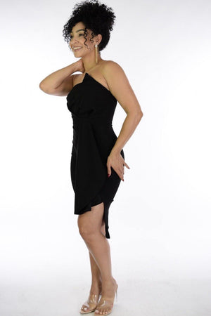 Eva, Black strapples dress with side ruffle & slit - Dimesi Boutique