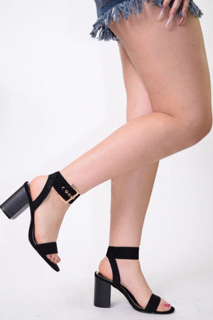 Vava Open Toe Black Chunky Heels with Band Ankle Strap