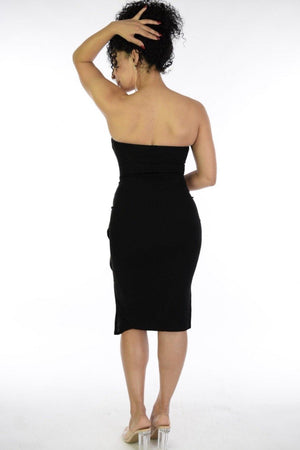 Eva, Black strapples dress with side ruffle & slit