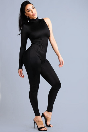 Renata, One Sleeve Black Jumpsuit