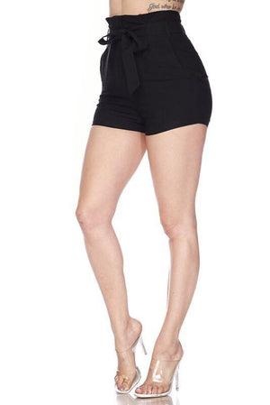 Sally Black Shorts With Tie Front