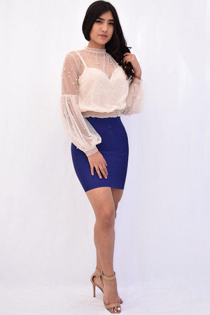 Kelly, Mesh blouse with pearl stud accent - Dimesi Boutique