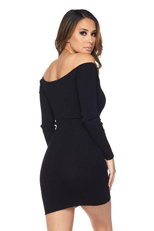 Off shoulder black mini dress - Dimesi Boutique