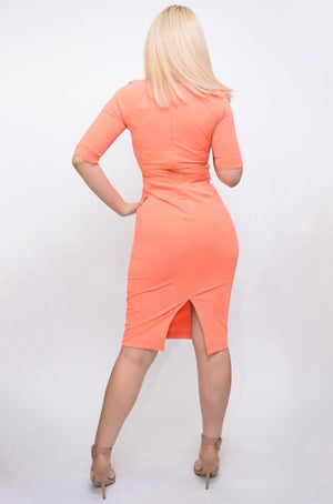 Light orange midi dress - Dimesi Boutique