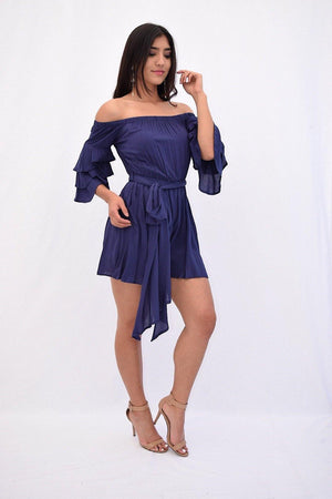 Helena, Off the shoulder romper with flared sleeve - Dimesi Boutique