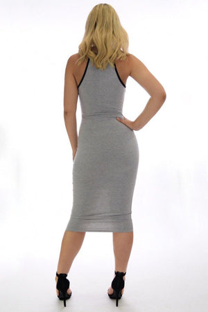 Alondra grey casual midi dress - Dimesi Boutique
